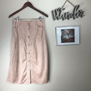 Dance & Marvel Pink Faux Suede MIdi Skirt